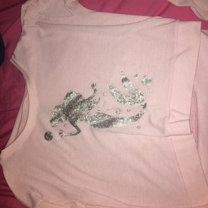The Little Mermaid Baby Pink Cropped Sweater